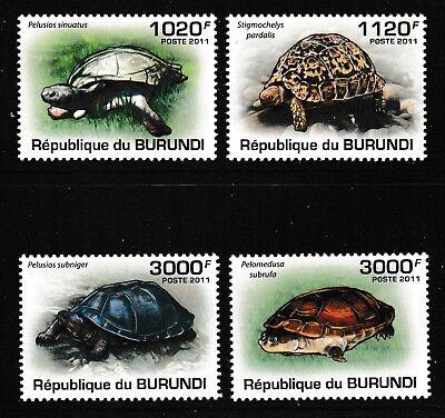 Briefmarken Schildkröte Landschildkröte Mnh 4er Set Briefmarken 2011 Burundi #897-900 Motive