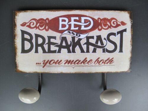 Garderobe Wandhaken Bed /& Breakfast Blechschild Geschenk Werbung Hotel  Vintage