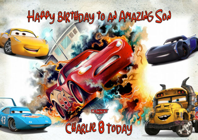 Personalised Birthday Card Cars 3 A5 Size Son Grandson Brother Daughter