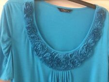 LADIES TOP  SIZE 22  AQUA BLUE WITH PRETTY ROSE FLOWER DETAIL AROUND THE NECK