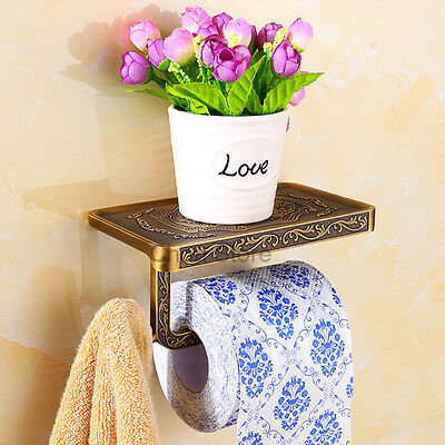 Antique Flower Carved Wall Mounted Toilet Paper Holder Roll Tissue Bar Shelf