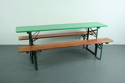 VINTAGE INDUSTRIAL GERMAN BEER TABLE BENCH SET GARDEN PAINTED | EBay