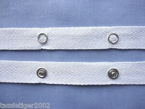 2yards White Sewing Snap Tape Metal Buttons Zipper Fastener Replacement 20mm