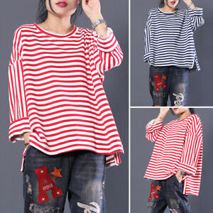 Women-Baggy-Striped-Long-Sleeve-Tops-Shirt-Pullover-Ladies-Blouse-Tee-Oversized