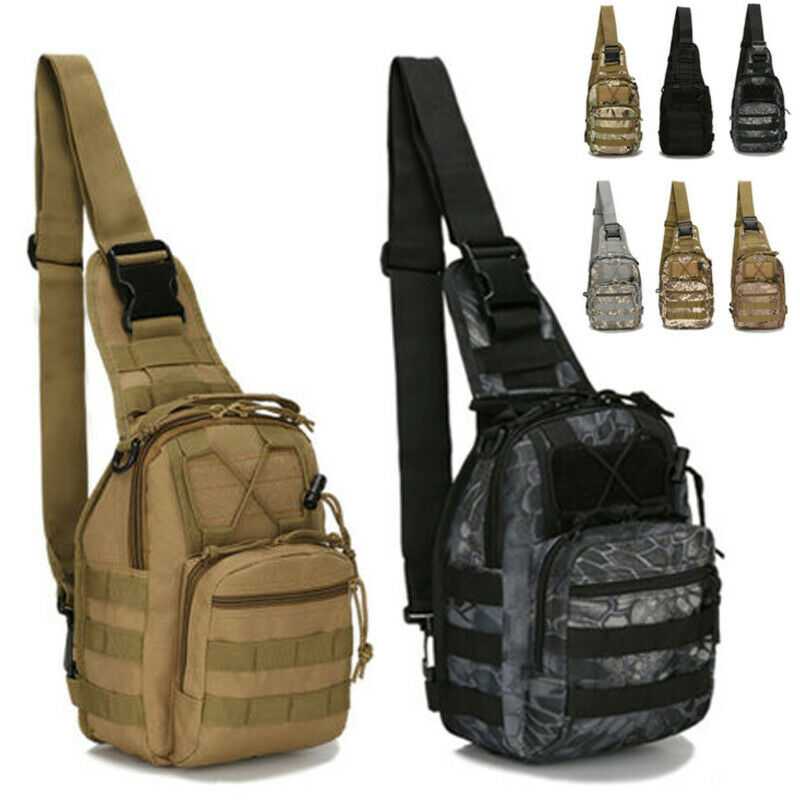 Men's Tactical Chest Bag Backpack Molle Crossbody Sling Messenger Shou... - s l1600