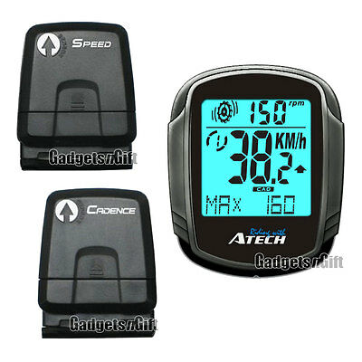 Atech Wireless Cycle Computer Cyclometer Backlight Odometer Cadence Speedometer