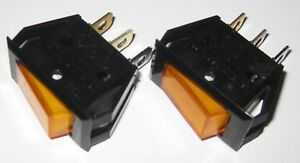 2-X-Dreefs-Illuminated-Rocker-Switch-SPST-125V-25A-Lighted-Amber-Snap-in