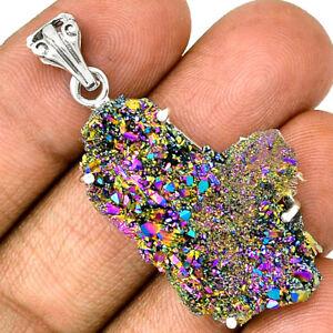 Titanium-Aura-Quartz-925-Silver-Pendant-Jewelry-PP101228