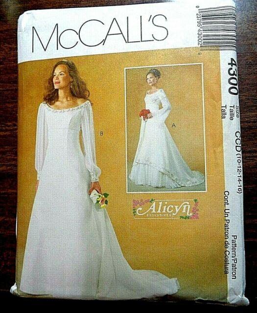 Mccalls Alicyn Wedding Dress Pattern 4300 Uncut Sizes 10 16 For Sale