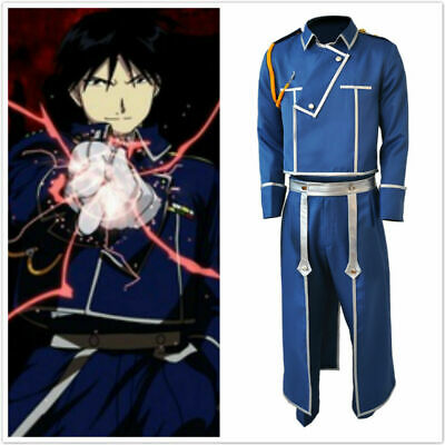Fullmetal Alchemist Colonel Roy Mustang Military Uniform Cosplay Costume Outfit