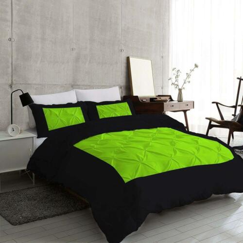 Two Tone Pinch Pleated Duvet Set 1000 TC Egyptian Cotton Black /& Parrot Green