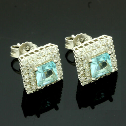 Sterling Silver Square Aqua Zirconia Earrings Gift Boxed