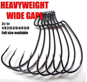 Wide Gap Worm Hook Jig Fishing Hooks Hook Soft Plastic Baits STRONG 2# to 5/0#