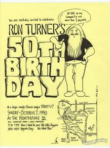 ron turner 50th birthday party flyer underground comix last gasp