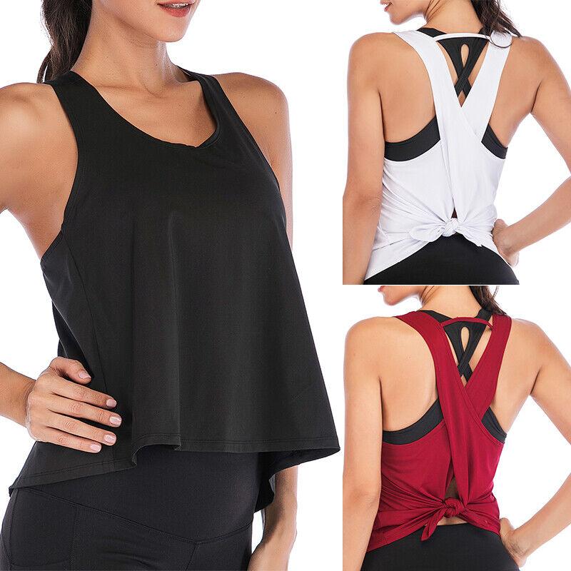 Women Yoga Tank Tops Sexy Open Back T-Shirts Vest Sleeveless Workout Sports Tops