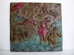 Bronze-Lost-Wax-Cast-Relief-Sculpture-034-Summer-Beach-Scene-034
