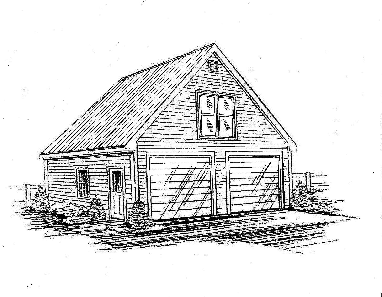 24 x 30 2 - Car Front Gable Garage Building Blauprint Plans with Walkup Loft 2x6