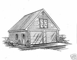 24 x 30 2 car front gable garage building blueprint for Building garage plans free uk