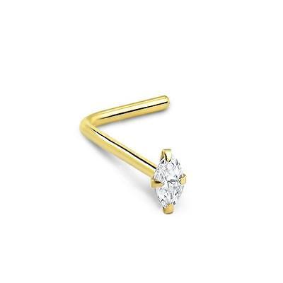 18KT White or Yellow Gold Screw LBend Nose Bone Stud Ring Bezel 22G 20G 18G