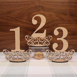 Wooden-Oak-Set-Of-1-9-Freestanding-Wedding-Table-Numbers-Wedding-Decor-LaserCut