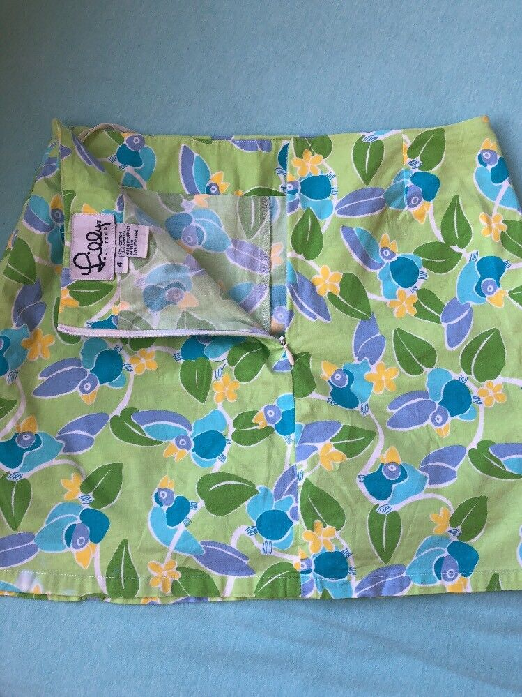 Lilly Pulitzer Toucan Play Mini Skirt With Built In Shorts bluee Green  Size 4