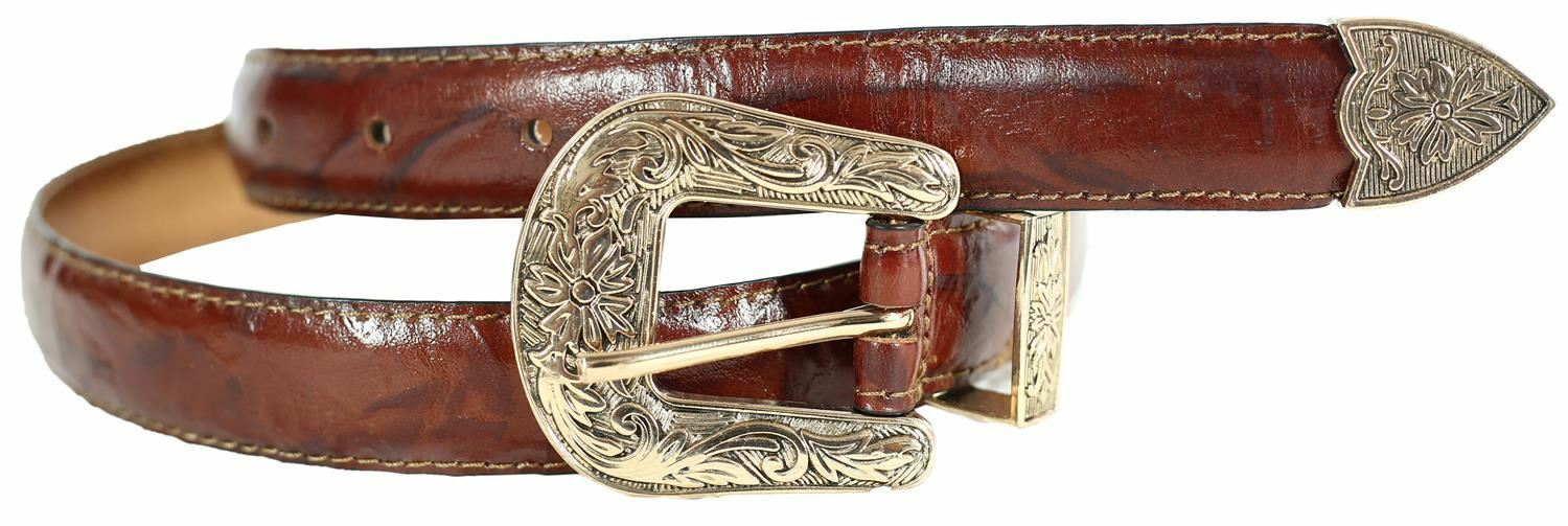 New Ladies Gold Antique Buckle Tapered Edge Stitched Tye Dye Print Leather Belts