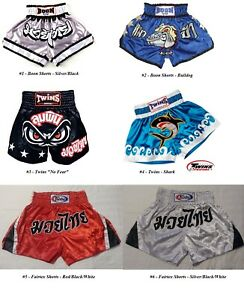 NEW-Muay-Thai-Kickboxing-Shorts-Choose-Fairtex-Boon-Twins-Silver-Red-Blue
