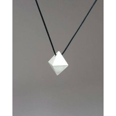 .925 Sterling Silver solid Geometric Necklace - Octahedron pendant