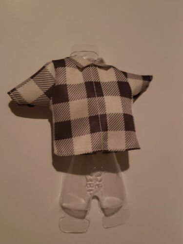 BROWN /& WHITE CHECKERBOARD COLLARED TOP  FOR  Barbie doll