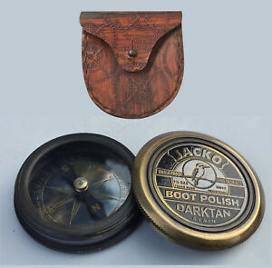 Nice Unidecor Vintage Nautical Marine Jacko Boot Polish Pocket Compass Leather Case Relieving Heat And Thirst. Antiques