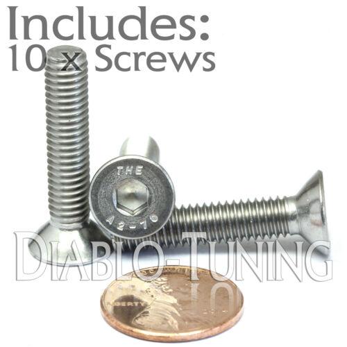 Qty 10 M6-1.0 x 30mm Stainless Steel Flat Head Socket Cap Screws A2 DIN 7991