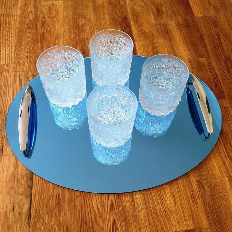 Oval Serviertablett mit Griffen - Blau Spiegel