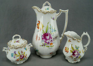 Ahrenfeldt-Dresden-Hand-Painted-Floral-amp-Gold-Chocolate-Pot-Set-C-1886-1910