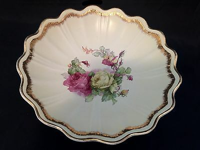 Vintage Empire China Co Pink Yellow Roses Gold Trim Decorative Bowl 10.5 Inches