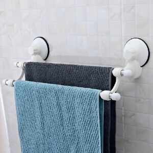 Suction-Cup-Wall-Mounted-Bathroom-Double-Towel-Rail-Holder-Storage-Racks-Bars