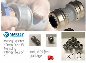10mm Push Fit Straight Plumbing Fittings Fits Any 10mm Pipe Copper