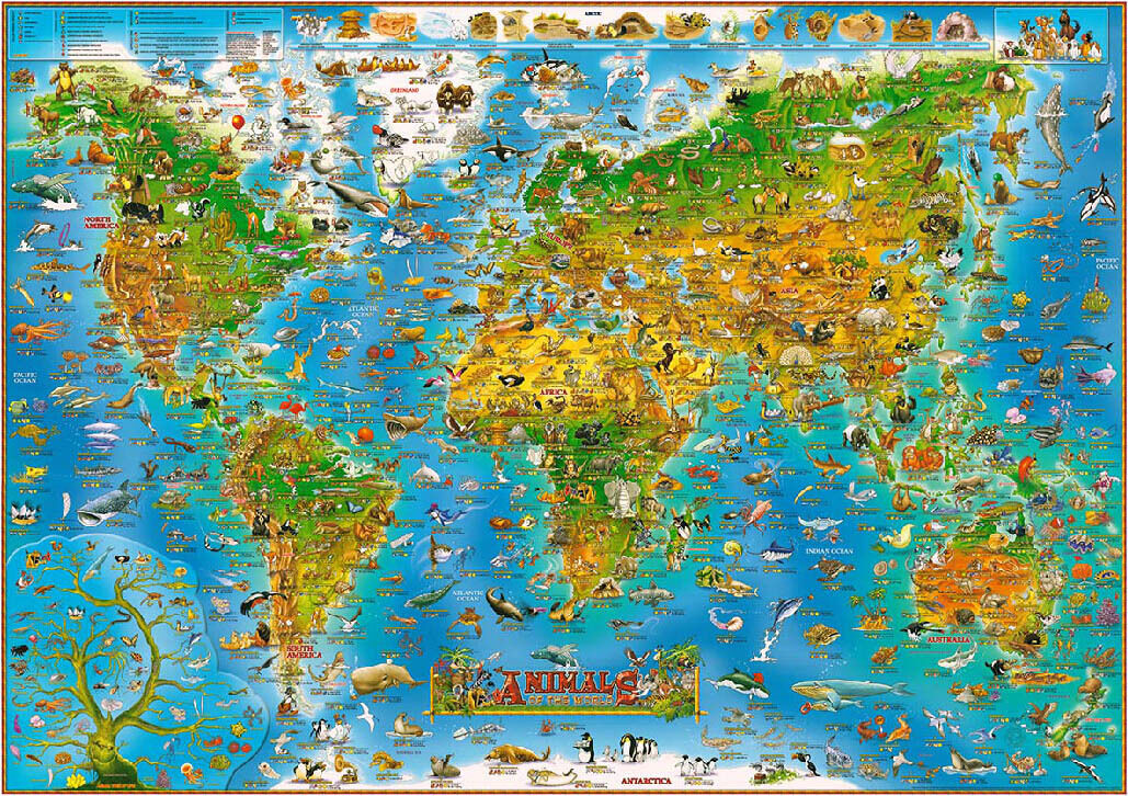 Deluxe Jigsaw Puzzle 1000 Piece Cartoon Animals World Map Subway YC1037