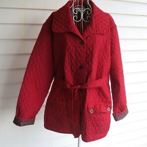 Natalie & Me Women's Quilted Jacket Size 2X Red Belted Lightweight with Pockets