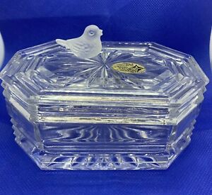 The-European-Collection-24-Lead-Crystal-Trinket-Box-W-Frosted-Bird-On-Top