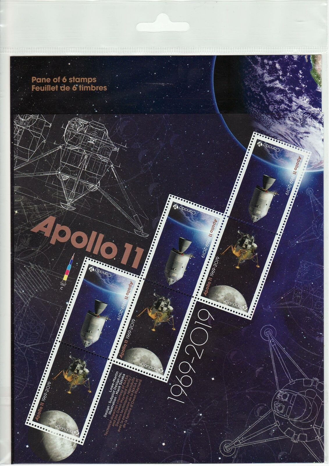 Canada Stamp #3187a - Apollo 11 (2019) 6 x P (SOUVENIR SHEET)