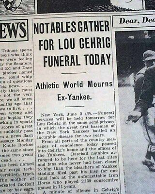 "Lou Gehrig New York Yankees ""the Iron Horse"" Death Funeral 1941 Old Newspaper For Improving Blood Circulation Cycling Sporting Goods"