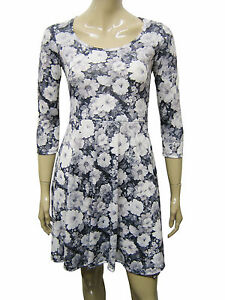 Womens-F-amp-F-3-4-Sleeve-Skater-Dress-Grey-Floral-Print-Size-6-to-22-Ladies-WD04