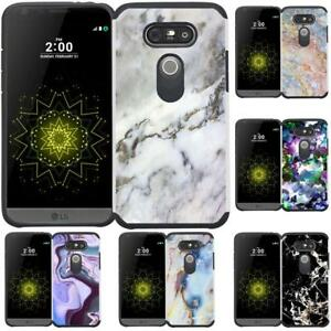 super popular 4d0aa dac43 Details about For LG G5 Marble Design Hybrid Armor Case Dual Layer  Protective Phone Cover