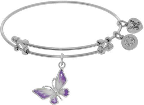 """7.25/"""" Adjustable White Brass To Pink Graduated Enamel Butterfly Angelica Bangle"""