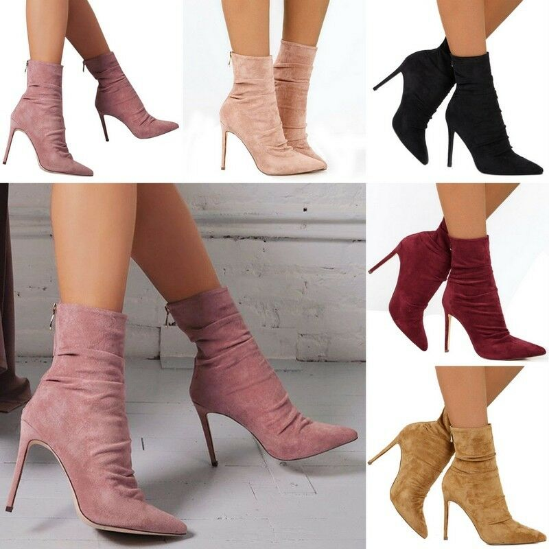 Womens Suede Zipper Stiletto Boots Pointed Toe High Heel Ankle Boots shoes