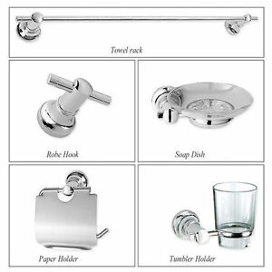 Wall Mounted SILVER Chrome-plated 5 PCS BATHROOM ACCESSORY SET
