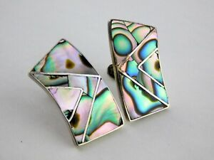 Vintage-Taxco-Mexico-Abalone-Inlay-Sterling-Silver-Screwback-Earrings-925-Chunky