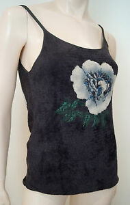 Uk14 Cream 46 Grey Vest Print e Charcoal Giorgio Top Green Floral Stitch Armani 7fxgqtwT
