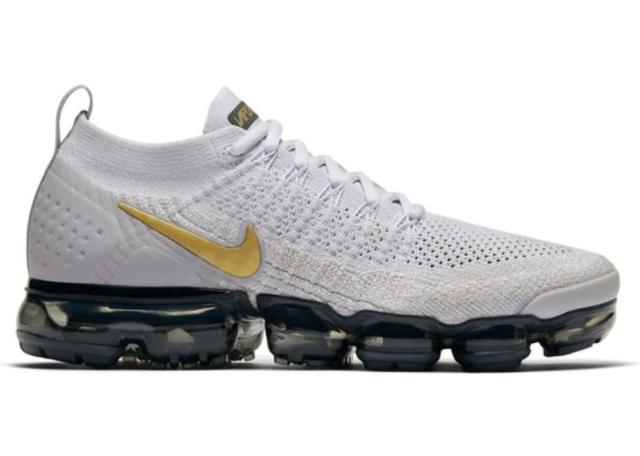 limpiar Oxidado Escuchando  Nike Air Vapormax Flyknit 2 Size 7.5 Vast Grey Metallic Gold Shoe 942843  010 for sale online   eBay
