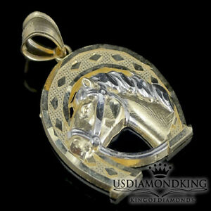 Men-039-s-Women-039-s-Lucky-Horse-Shoe-10k-Two-Tone-Real-Gold-Charm-Pendant-1-12-034-3-1g